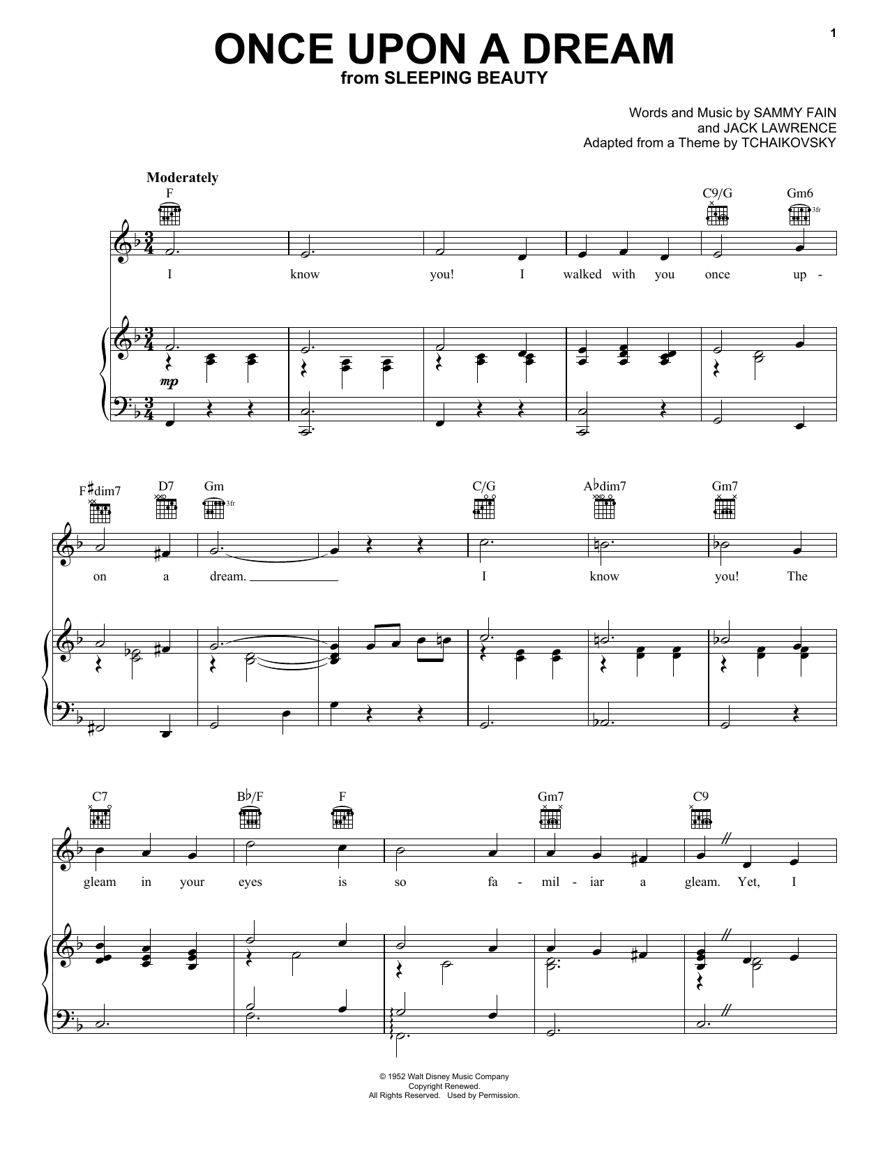 Sammy Fain Once Upon A Dream sheet music notes printable PDF score