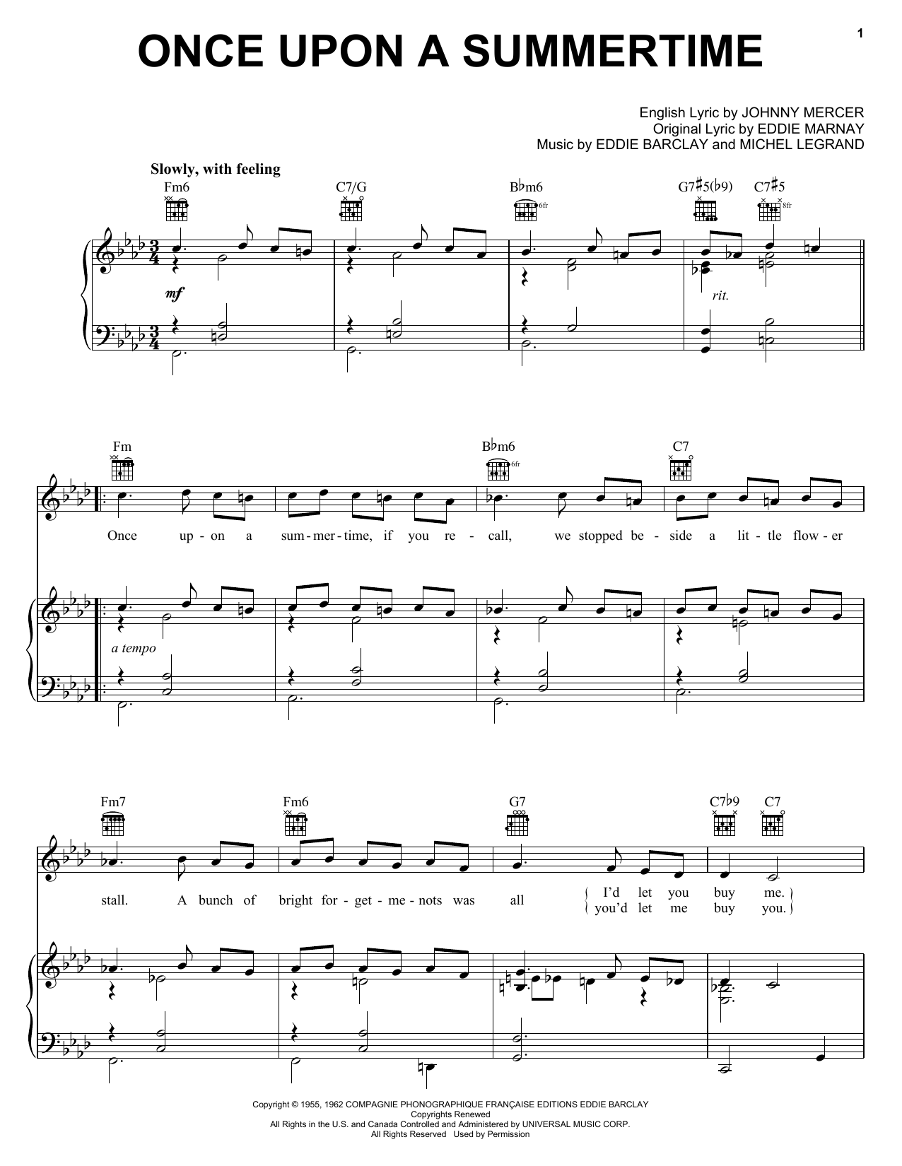 Tony Bennett Once Upon A Summertime sheet music notes printable PDF score