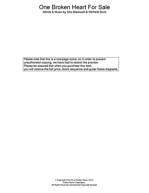 Elvis Presley One Broken Heart For Sale sheet music notes printable PDF score