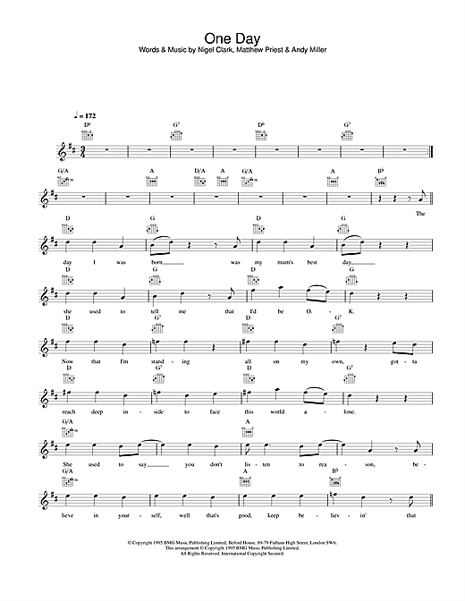 Dodgy One Day sheet music notes printable PDF score