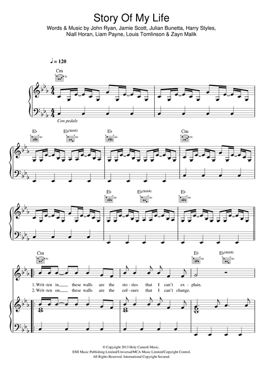 One Direction Story Of My Life sheet music notes and chords. Download Printable PDF.
