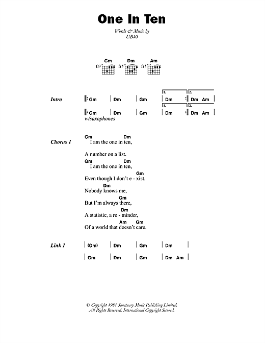 UB40 One In Ten sheet music notes printable PDF score