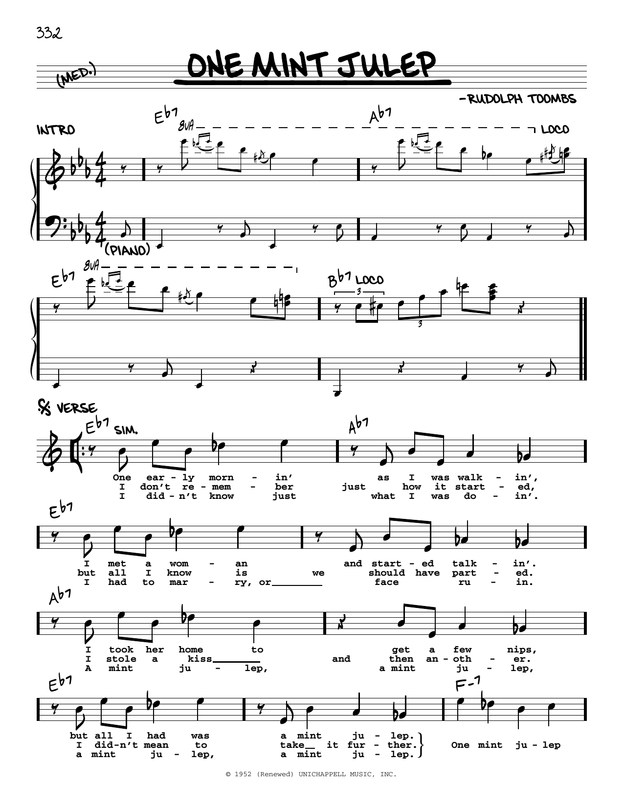 The Clovers One Mint Julep sheet music notes printable PDF score
