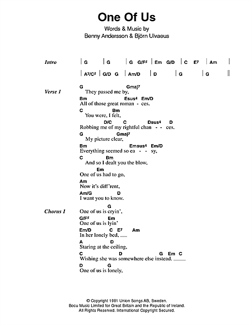 ABBA One Of Us sheet music notes printable PDF score