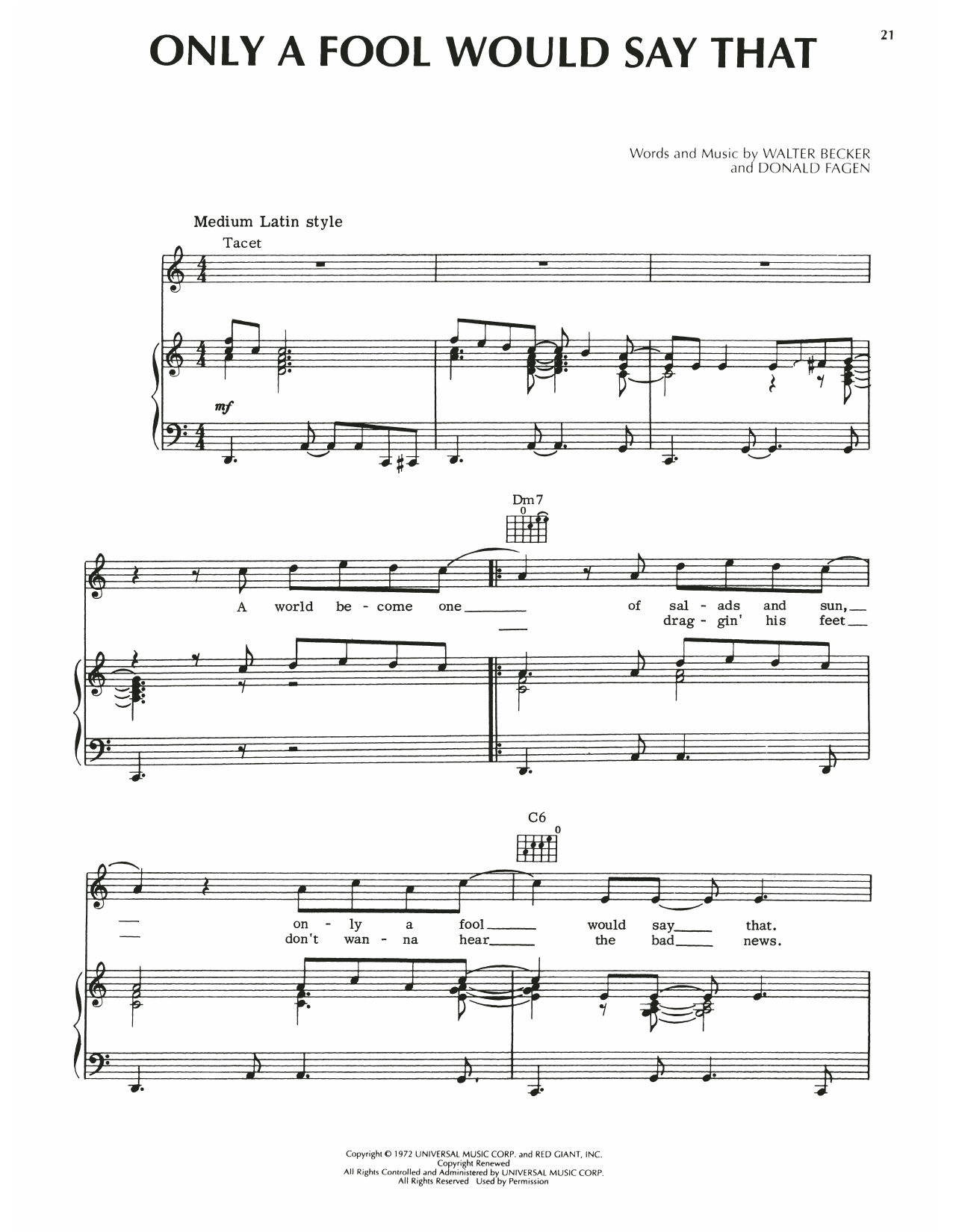 Steely Dan Only A Fool Would Say That sheet music notes printable PDF score