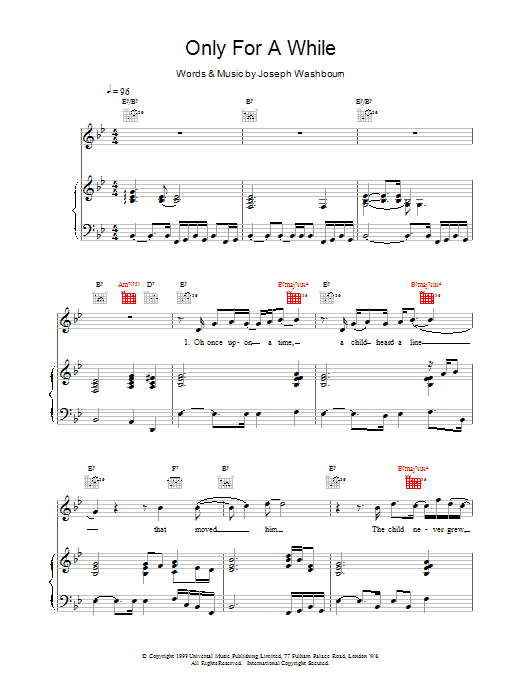 Toploader Only For A While sheet music notes printable PDF score