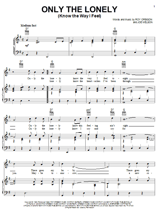 Roy Orbison Only The Lonely (Know The Way I Feel) sheet music notes printable PDF score