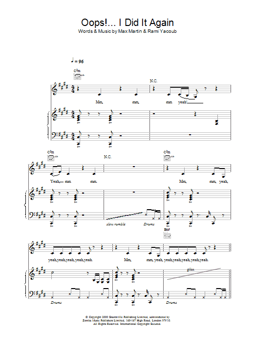 Britney Spears Oops! I Did It Again sheet music notes printable PDF score