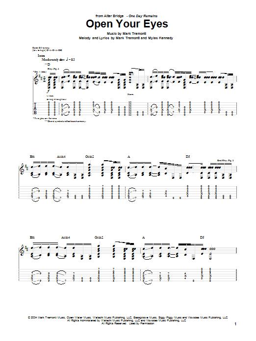 Alter Bridge Open Your Eyes sheet music notes printable PDF score