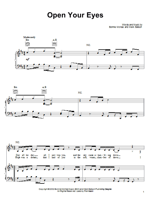 Bonnie McKee Open Your Eyes sheet music notes printable PDF score