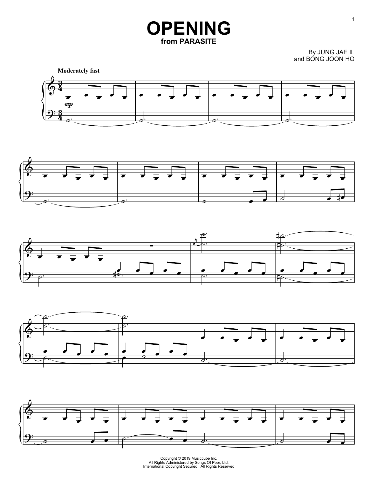 Jung Jae Il Opening (from Parasite) sheet music notes printable PDF score