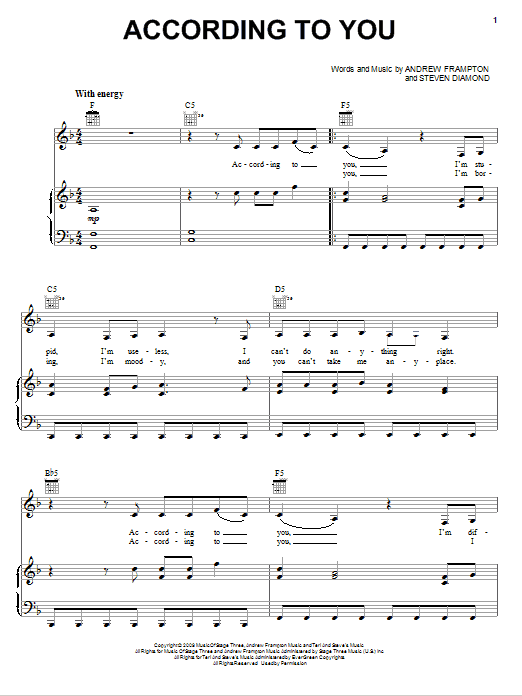 Orianthi According To You sheet music notes and chords. Download Printable PDF.