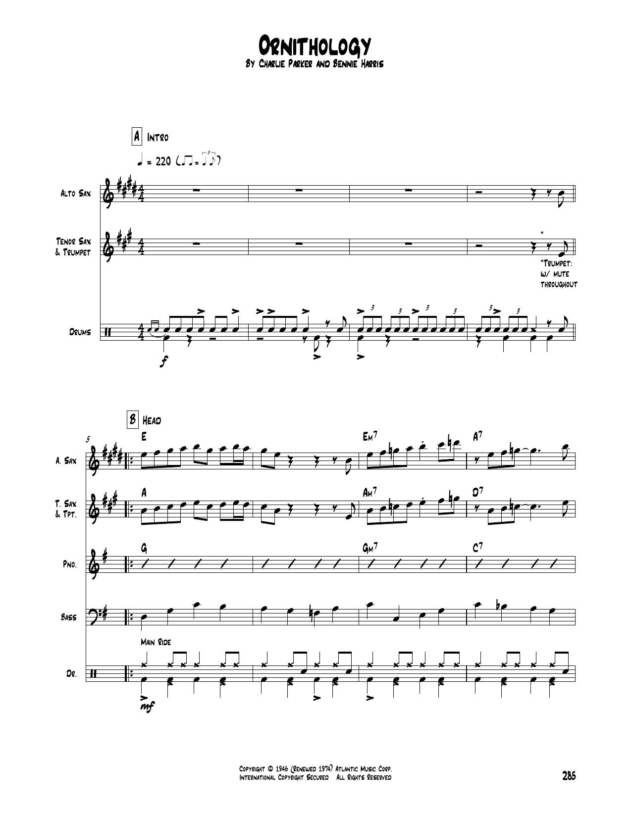 Will Hudson Ornithology sheet music notes printable PDF score