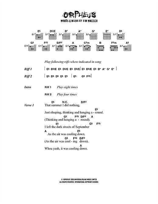 Ash Orpheus sheet music notes printable PDF score