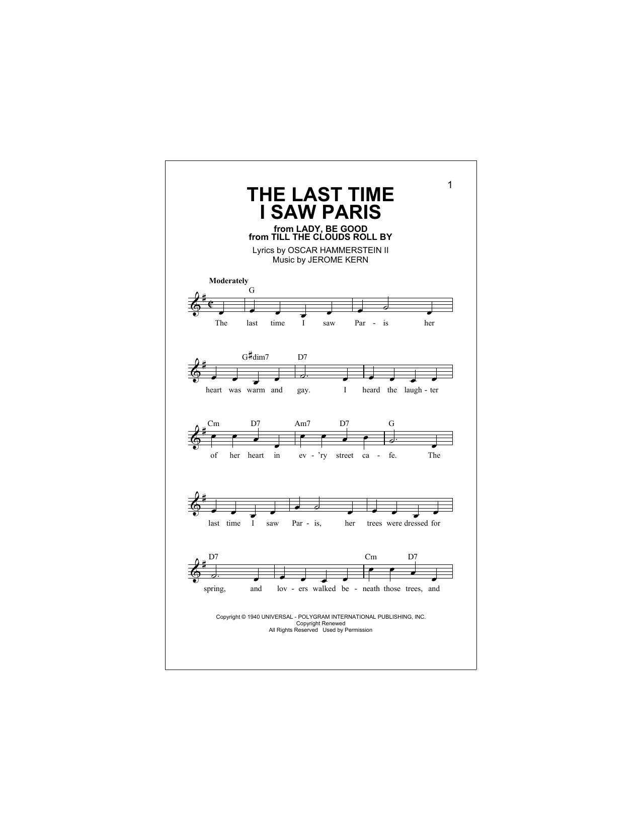 Oscar Hammerstein II The Last Time I Saw Paris sheet music notes and chords. Download Printable PDF.