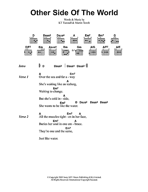 KT Tunstall Other Side Of The World sheet music notes printable PDF score
