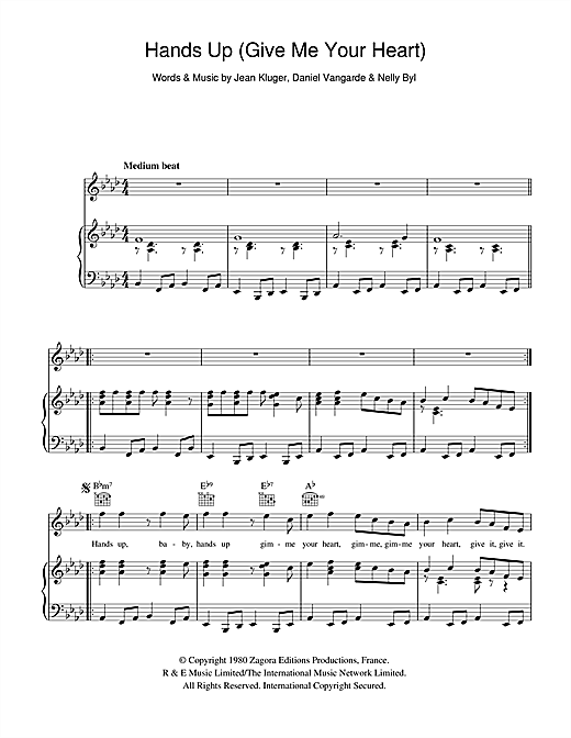 Ottawan Hands Up (Give Me Your Heart) sheet music notes and chords. Download Printable PDF.
