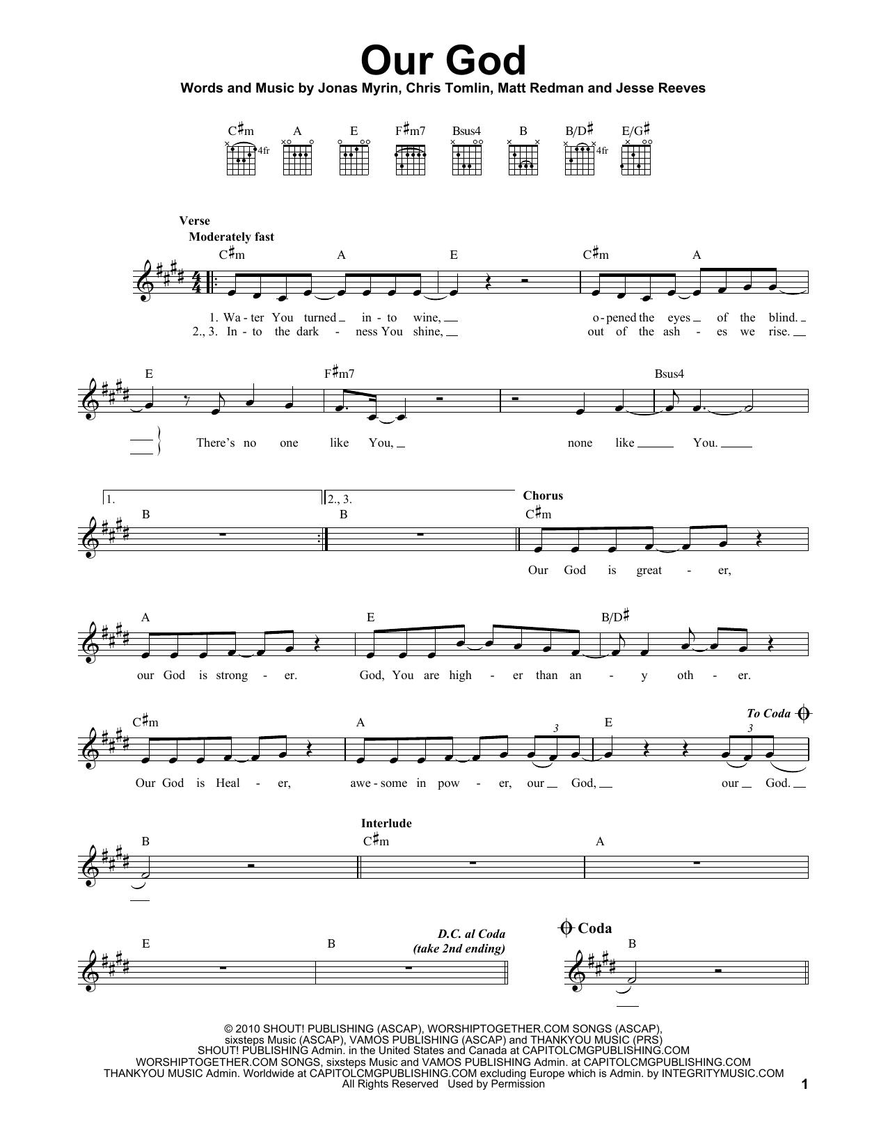 Jonas Myrin Our God sheet music notes printable PDF score