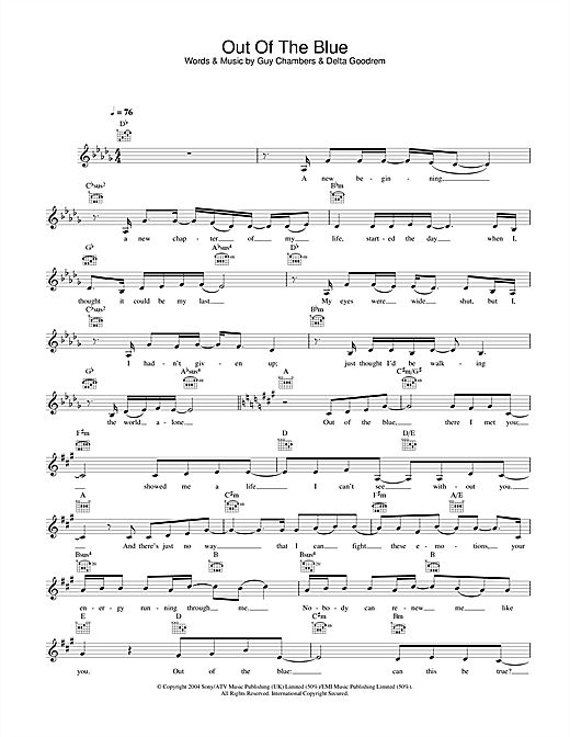 Delta Goodrem Out Of The Blue sheet music notes printable PDF score