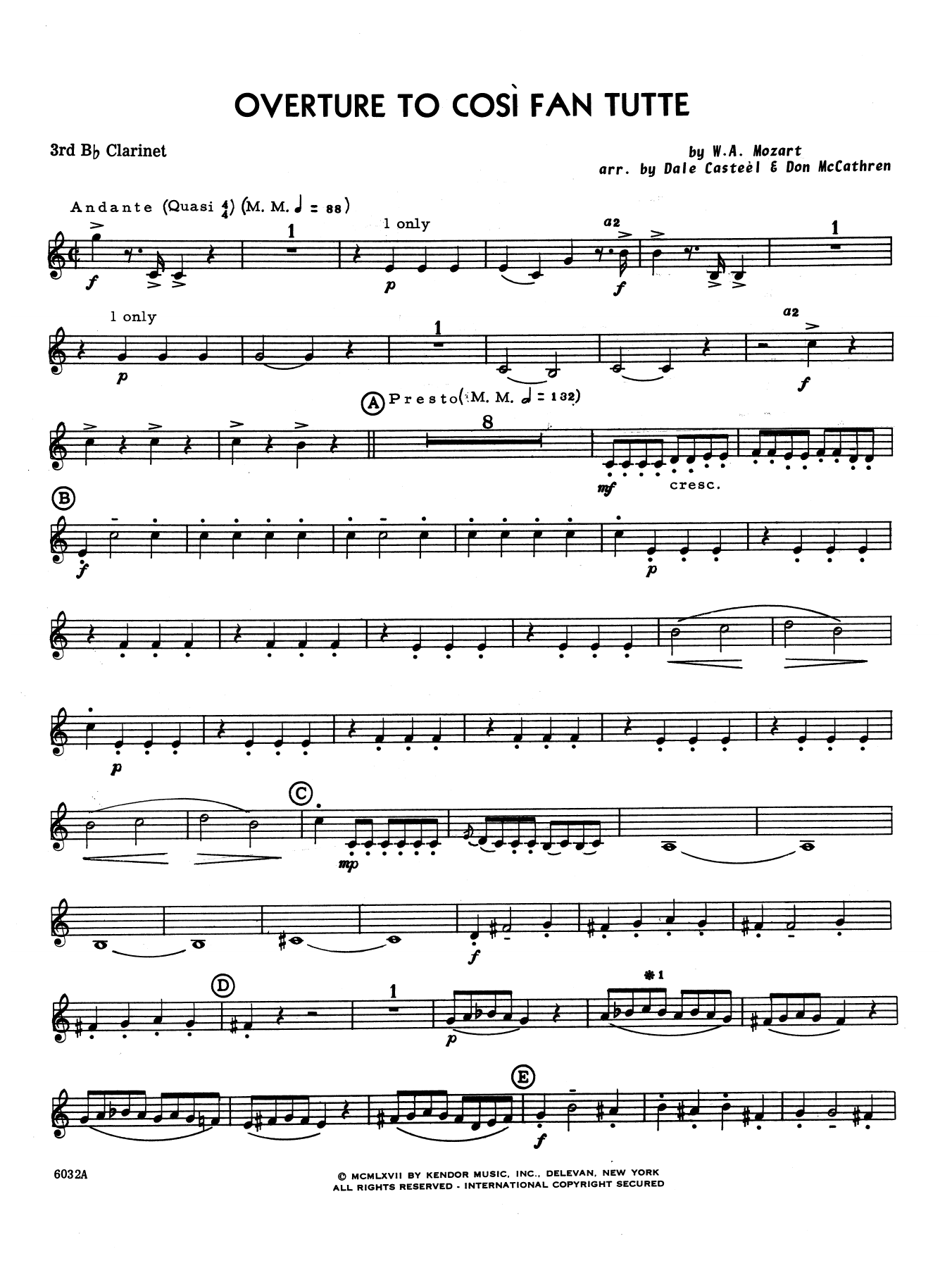 Dale Casteel Overture to Cosi Fan Tutte - 3rd Bb Clarinet sheet music notes printable PDF score