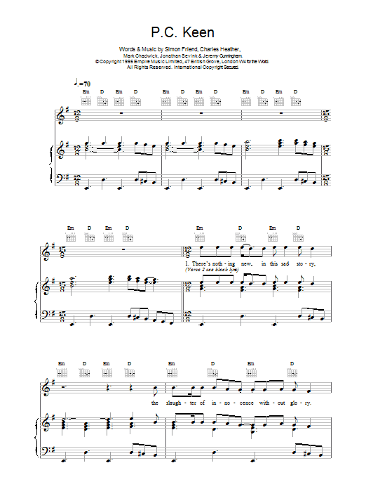 The Levellers P.C. Keen sheet music notes printable PDF score