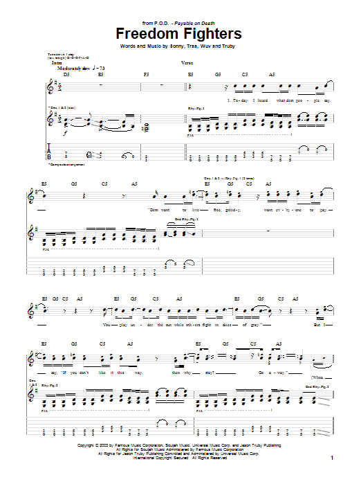 P.O.D. (Payable On Death) Freedom Fighters sheet music notes and chords. Download Printable PDF.