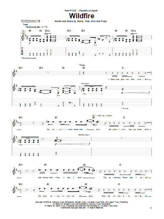 P.O.D. (Payable On Death) Wildfire sheet music notes and chords. Download Printable PDF.