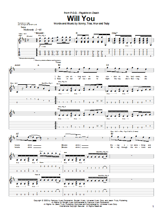 P.O.D. (Payable On Death) Will You sheet music notes and chords. Download Printable PDF.
