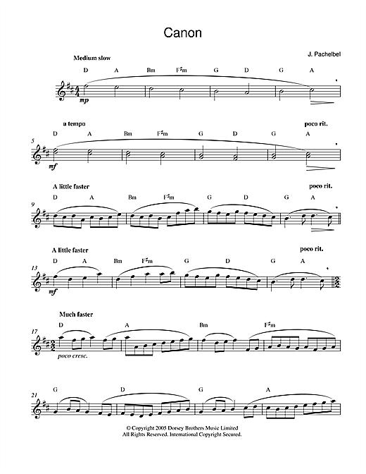 Johann Pachelbel Pachelbel's Canon In D Major sheet music notes printable PDF score