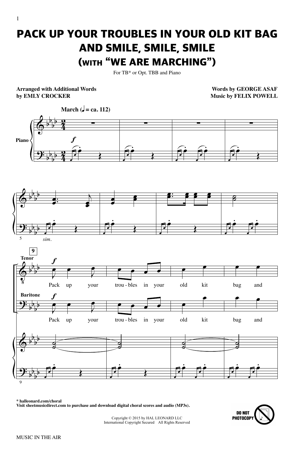 Felix Powell Pack Up Your Troubles In Your Old Kit Bag And Smile, Smile, Smile (from Music In The Air) sheet music notes printable PDF score