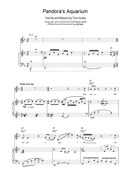 Tori Amos Pandora's Aquarium sheet music notes printable PDF score