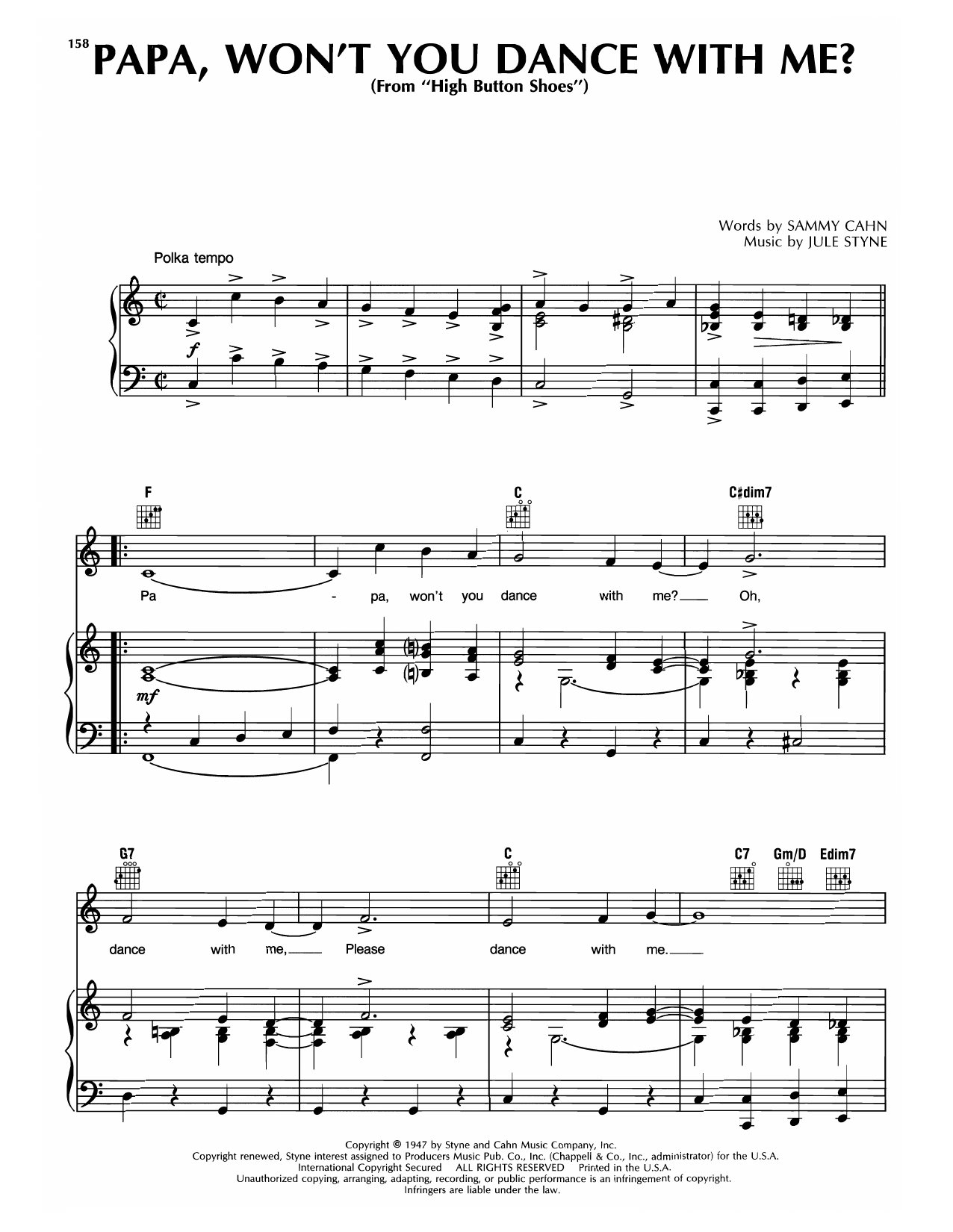Sammy Cahn & Jule Styne Papa, Won't You Dance With Me? (from High Button Shoes) sheet music notes printable PDF score