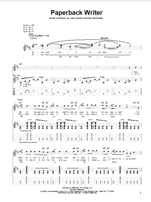 The Beatles Paperback Writer sheet music notes printable PDF score