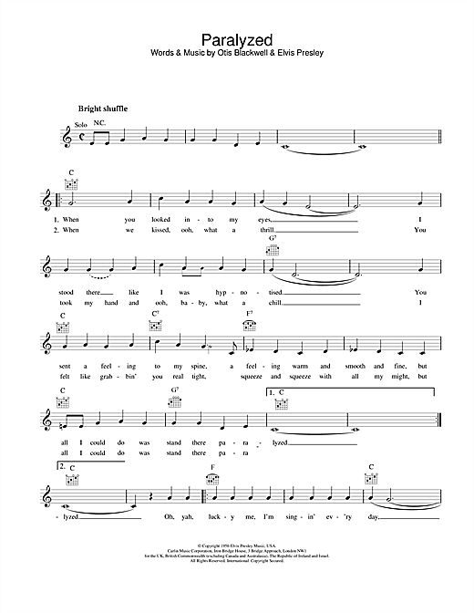 Elvis Presley Paralyzed sheet music notes printable PDF score
