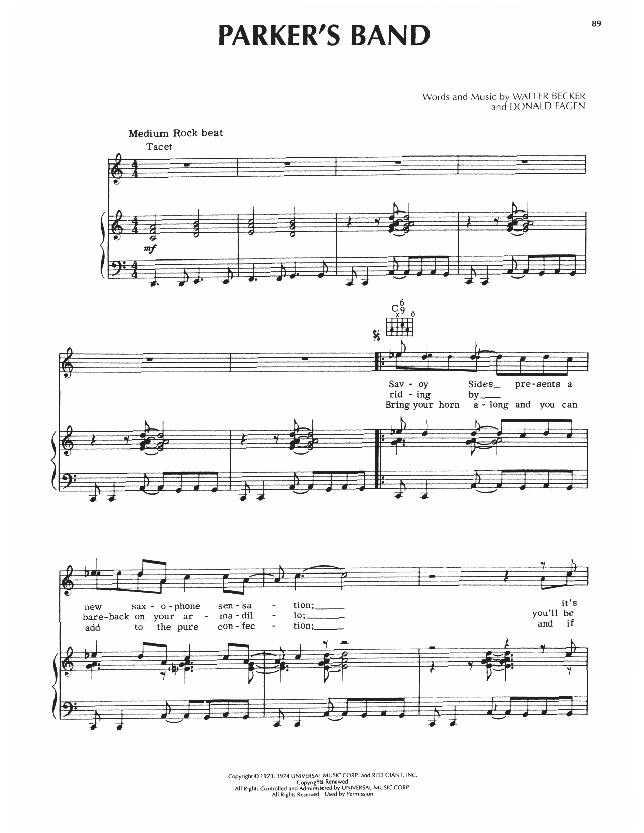 Steely Dan Parker's Band sheet music notes printable PDF score