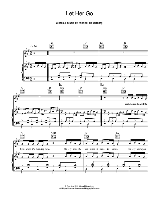 Passenger Let Her Go sheet music notes and chords - download printable PDF.