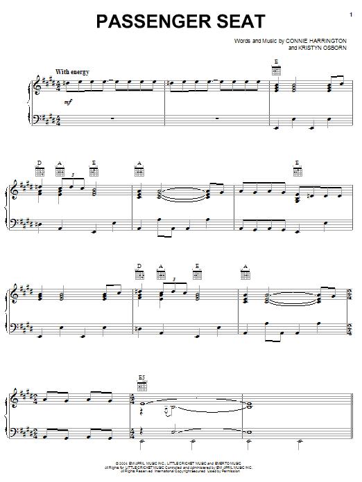 SheDaisy Passenger Seat sheet music notes printable PDF score
