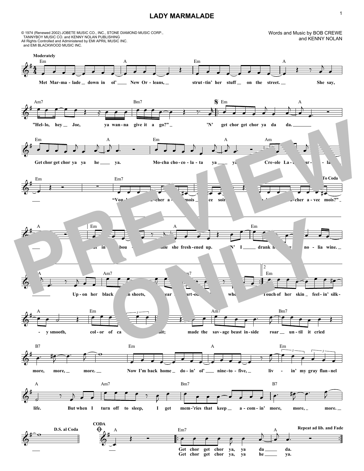 Patty LaBelle Lady Marmalade sheet music notes and chords. Download Printable PDF.