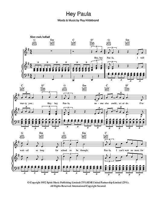 Paul & Paula Hey Paula sheet music notes and chords. Download Printable PDF.