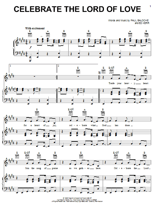 Paul Baloche Celebrate The Lord Of Love sheet music notes and chords. Download Printable PDF.