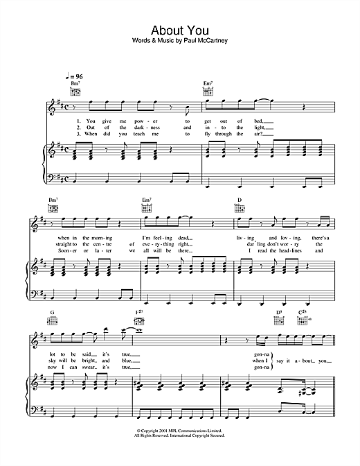 Paul McCartney About You sheet music notes printable PDF score