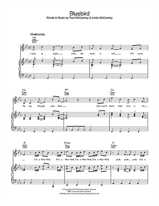 Paul McCartney Bluebird sheet music notes printable PDF score