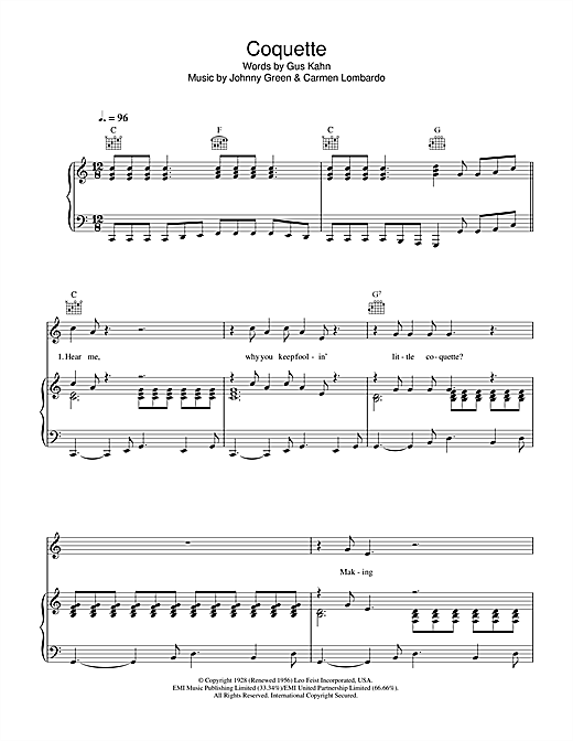 Paul McCartney Coquette sheet music notes printable PDF score