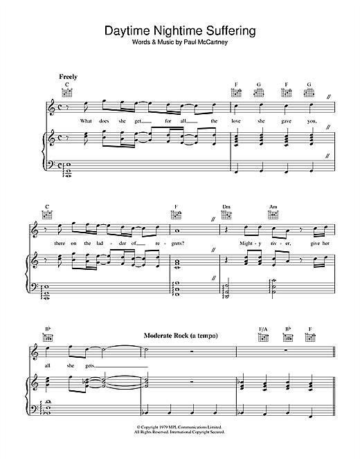 Paul McCartney Daytime Nightime Suffering sheet music notes printable PDF score