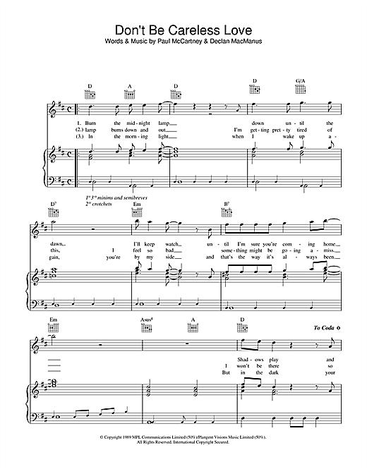 Paul McCartney Don't Be Careless Love sheet music notes printable PDF score