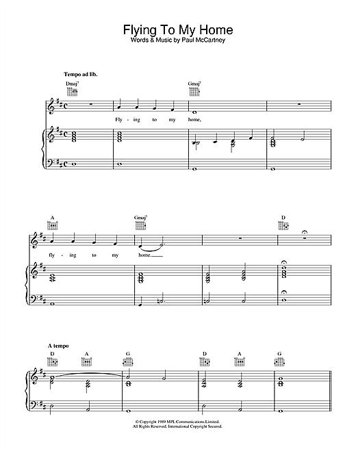 Paul McCartney Flying To My Home sheet music notes printable PDF score