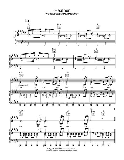 Paul McCartney Heather sheet music notes printable PDF score