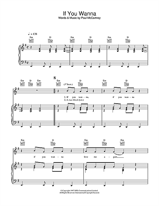 Paul McCartney If You Wanna sheet music notes printable PDF score