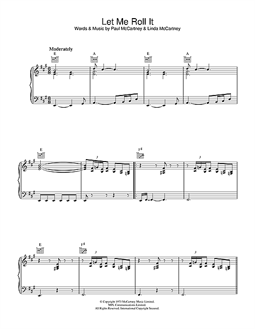 Paul McCartney Let Me Roll It sheet music notes printable PDF score