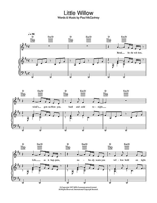 Paul McCartney Little Willow sheet music notes printable PDF score